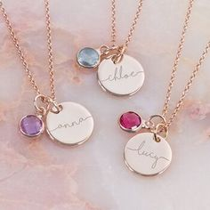Birthstone Charms, Birthstone Necklace, Sterling Necklaces, Jewelry Necklaces, Jewelry Shop, Unique Necklaces, Initial Necklace Gold, Initial Jewelry, Jewelry Findings