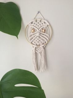 Gold hoop owl macramé wall hanging by HandworksByRonda on Etsy