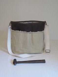 Waxed Canvas Bag Messenger Shoulder Adjule Crossbody Strap