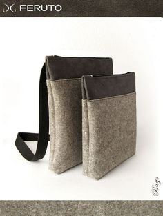 BIG BASIC leather and felt bag for him and her by FERUTOBags, $75.00