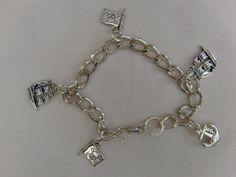 Bracelet, Charm Bracelet, Halloween Jewellery, Silver Chain, Charm, Pirate Ship, Flag, Anchor, Silver Plated, Gift, Birthday, Halloween