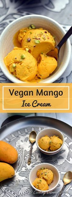 Vegan Mango Ice Cream with Pisachios - No Added Sugar - This creamy Vegan Mango Ice Cream has only three ingredients and no added sugar. Make sure you use sweet ripe mangoes and you will not miss the sugar in this summer treat! www.cookingcurries.com