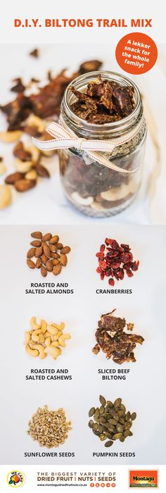 Montagus DIY biltong and nut trail mix is the perfect snack for sports. A healthy snack ideal for the rugby. Biltong, Mixed Nuts, Dried Fruit, Super Easy, Dip, Healthy Snacks, Kitchen Ideas, Almond, Trail