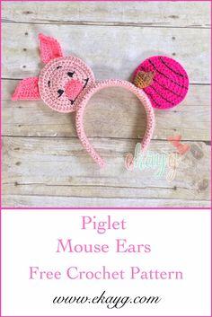 DIY crochet Piglet Mouse Ears for your next trip to Disney! Disney Crochet Patterns, Crochet Disney, Crochet Mouse, Cute Crochet, Crochet For Kids, Crochet Crafts, Yarn Crafts, Crochet Projects, Disney Headbands
