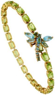 14k Gold 7 1/2 in. Ladies' Eternity Bracelet w/ Dragonfly, w/ 20.00 Total Carat Weight 6x4mm Oval Cut Peridot, Brilliant Cut & Marquise Cut Blue Topaz Stones, 3/16 in. (4mm) wide Gabriella Gold. $706.56. Save 68% Off!