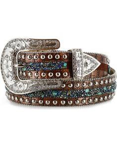 Angel Ranch Women's Stud & Stone Western Belt, Brown, hi-res Cowgirl Belts, Cowgirl Bling, Western Belts, Cowgirl Style, Cowgirl Clothing, Western Wear, Country Belts, Cowgirl Fashion, Cowgirl Outfits