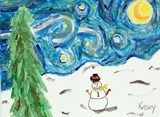 """Starry Night Winter Landscape - The students looked at the style of Vincent Van Gogh, especially """"The Starry Night"""". They learned about how he would use short strokes and not blend everything. (That was a difficult thing to unlearn). They then made a simple snowy hill with a snowman."""