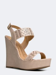 - Flaunt your feet in perforated wedges! - These sandals have an ankle strap with a buckle closure and a low platform for a slight boost. - Non-skid sole and cushioned footbed. - Color- Nude PU - Synt