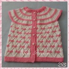 Between 1 and years old. The price is 55 TL. Baby Born Clothes, Boy Doll Clothes, Baby Knitting Patterns, Knitting Designs, Baby Dress Design, Crochet Girls, Vest Pattern, Crochet Baby Booties, Baby Cardigan