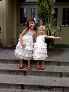 Ivory and Lace Ruffle Dress..NB, 3m, 6m, 9m, 12m, 18m, 2T, 3T, 4T..dressbabybeautiful. $56.00, via Etsy.
