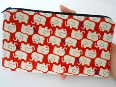 LIMITED Elephants on Red Japanese Import Large ECO Friendly Padded Zipper Pouch by JPATPURSES, $18.00