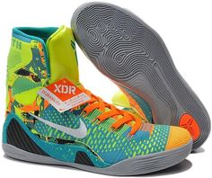 buy online 92a49 bc497 Kobe 9 High Mens Green Orange Blue Black Grey Girls Basketball Shoes, Nike  Kids Shoes