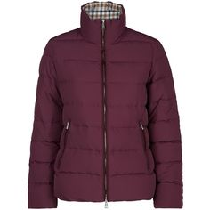 Aquascutum Radcliffe Short Down Jacket (595 CAD) ❤ liked on Polyvore featuring outerwear, jackets, plum, women, feather jacket, lined jacket, down filled puffer jacket, down feather jacket and fitted jacket