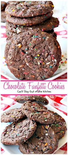 Chocolate Funfetti Cookies | Can't Stay Out of the Kitchen | spectacular #chocolate #cookies that start with a #cakemix and rainbow sprinkles. Quick, easy & delicious #dessert.