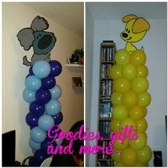 Woezel en Pip balloon pilars Kind, Dean, Om, Goodies, Party, Gifts, Sweet Like Candy, Presents, Gummi Candy