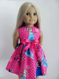 Frozen Inspired Pink Doll Dress and Sash for the American Girl Doll by TheWhimsicalDoll2