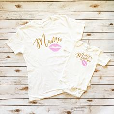 Mama and Mini Mama Shirt & Onesie Sparkle Set. Mommy and Baby twinning set in Glitter Gold and Glitter Pink. Browse our entire collection at www.shopcassidyscloset.com