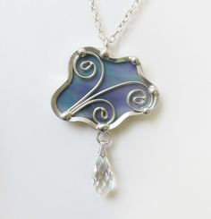 Pendant Necklace Stained Glass Cloud Iridescent by JasGlassArt