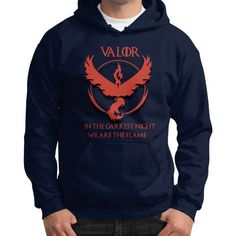 Team Valor - In Darkest Night We are the Flame Gildan Hoodie (on man) Shirt