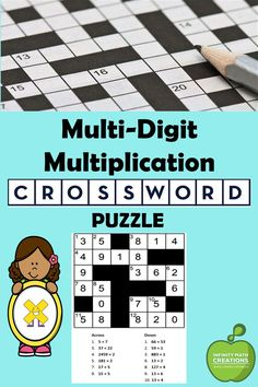 If your students love crossword puzzles, then they'll certainly love this activity.This Multi-Digit Multiplication Crossword puzzle gets students excited about practicing their multiplication skills! In this pack, students will practice estimating and computing products of up to 3-digit by 1-digit, 2-digit by-2-digit and up to 4-digit by 1-digit factors. Multi Digit Multiplication, Multiplication Games, Fun Math Activities, Math Games, 12th Maths, Crossword Puzzles, Arithmetic, Puzzles For Kids, Student Engagement
