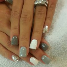 White, Grey, Silver and Glitter Nails