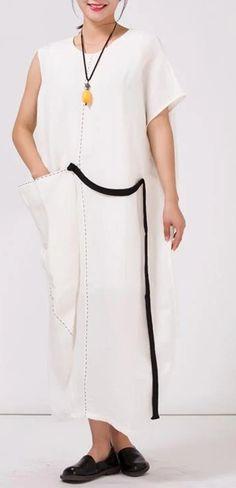 100%Linen White Long Dress For Women White Linen Dresses, Cotton Dresses, White Dress, Chiffon Dress, Summer Dresses, Women, Fashion, Chiffon Gown, Moda