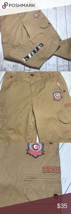 "COOGI-Boys-Cargo-Pants-Khaki-size-14-Urban Coogi Cargo Pants Boys 14 Tan  Waist;  28"" Inseam:  27""  J COOGI Bottoms Casual"