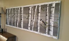 Pallet art, White Birch reclaimed wood, Long Horizontal mural Art, Aspen trees, Hand painted chickadee, Distressed ****This piece is 65 Long x 21 high***** This picture is of the original painting on reclaimed wood fencing. Are you looking for a unique piece of shabby art for over your couch or that long hallway? This long, horizontal piece is edged with strips of wood painted and aged white for a framed/finished edge look. It has been slightly aged by sanding areas and the edges. **All ...