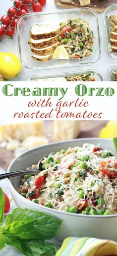 Creamy Orzo with Garlic Roasted Tomatoes