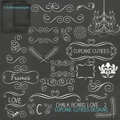 ChalkBoard LOVE Set 2  Digital Clipart Elements and Papers Commercial use for paper, invites InStAnT DoWnLoAd