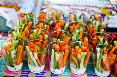 Carrot and Celery dip. What a great idea to avoid double dipping and arranging all the veggie sticks!