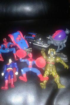 Lot of Spiderman, Figures, Superman DMA McD Spider, 1995 Marvel A-21