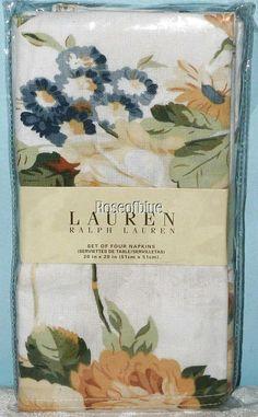 RALPH LAUREN DANIELLA FLORAL SET 4 NAPKINS LEMON YELLOW BLUE BRUNCH DINNER PARTY #RalphLauren