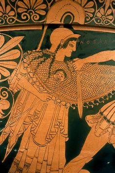 Details from a red-figure calyx-krater depicting scenes of the Trojan War  Greek (manufactured at Athens), Late Archaic Period, c. 490-480 B.C.  terracotta  MFA Boston