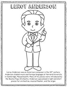 leroy anderson famous classical music composer informational text coloring page use this activity sheet