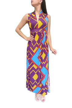 Buy this Sleeveless, V-Neck Maxi Dress! Blue Turquoise and Purple Geo Print.