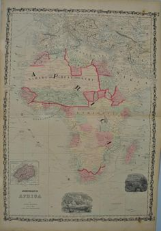Johnson's Africa Compiled Drawn Engraved by J H Colton & A J Johnson Note: Despite being advertised at steel engravings the maps in Johnson's Family Atlas were in fact hand colored stone lithographs.I