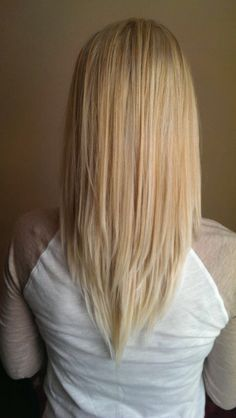 v cut layered hair - Google Search