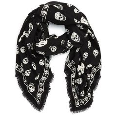 Women's Alexander Mcqueen Skull Print Wool & Silk Scarf ($575) ❤ liked on Polyvore featuring accessories, scarves, accessories - scarves, black, necklaces, skull shawl, skull scarves, silk scarves, alexander mcqueen scarves and woolen shawl