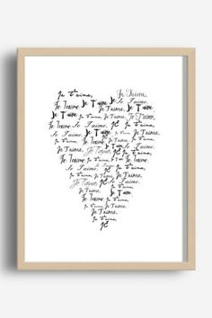Je T'aime, Inspirational Quote Print, Printable Wall Art, French Quote, Heart Print, je t'aime Print, Love Quote, Digital Download #valentinesday #valentinesdaygift #WallArt #printableart #lovequotes