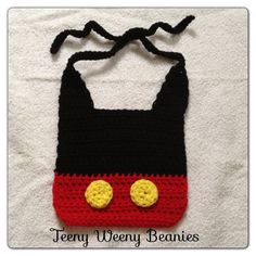 Crochet Mickey Mouse Bib(Inspired by Mickey Mouse)