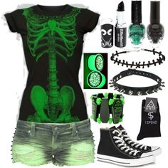Living Dead Girl by ofmiceandvampiraydg on Polyvore featuring Frankie B., Converse, UNIF and Kreepsville 666