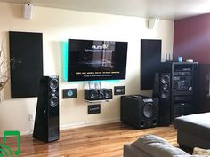 Impressive SVS Ultra Tower with Prime Elevation for Dolby Atmos height effects, sound treatments and ore. Jbl Home Theatre, Home Theatre Sound, Home Theater Setup, Cinema Theater, Wireless Home Theater System, Home Theater Speaker System, Svs Subwoofer, Best Surround Sound System, Tecnologia