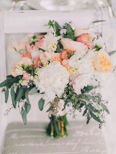 BEAUTIFUL Wedding Bouquet Featuring: White Peonies, White Chrysanthemums, Cream Cabbage Roses, Coral Ranunculus, Coral Sweet Pea & Green Seeded Eucalyptus~~