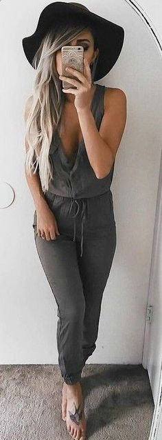 #summer #girly #outfits | Khaki Jumpsuit