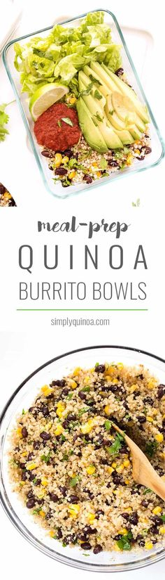 Vegetarian Quinoa Burrito Bowls -- perfect for meal prep and ready in under 20 minutes!
