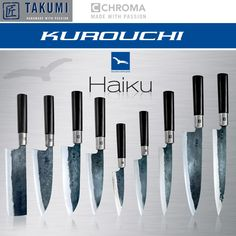 Haiku - Kuroichi Japanese Cooking Knives, Japanese Kitchen Knives, Japanese Chef, Kitchen Tools, Kitchen Appliances, Chef Knife Bags, Fancy Kitchens, Damascus Knife, How To Cook Steak