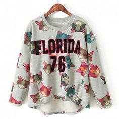To find out about the Grey Long Sleeve Cat Pattern Zipper Sweatshirt at SHEIN, part of our latest Sweatshirts ready to shop online today! Sweatshirts Online, Printed Sweatshirts, Hoodies, Fancy Dress Store, Online Fashion Stores, Pullover, Clothes, Cat Pattern, Fox