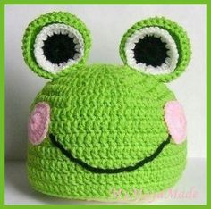 Frog hat for baby,  crochet