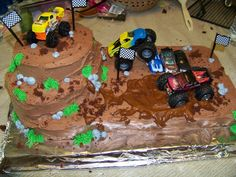 mud truck birthday party | Did this cake for my son's 5th birthday party. LOTS of inspiration ...